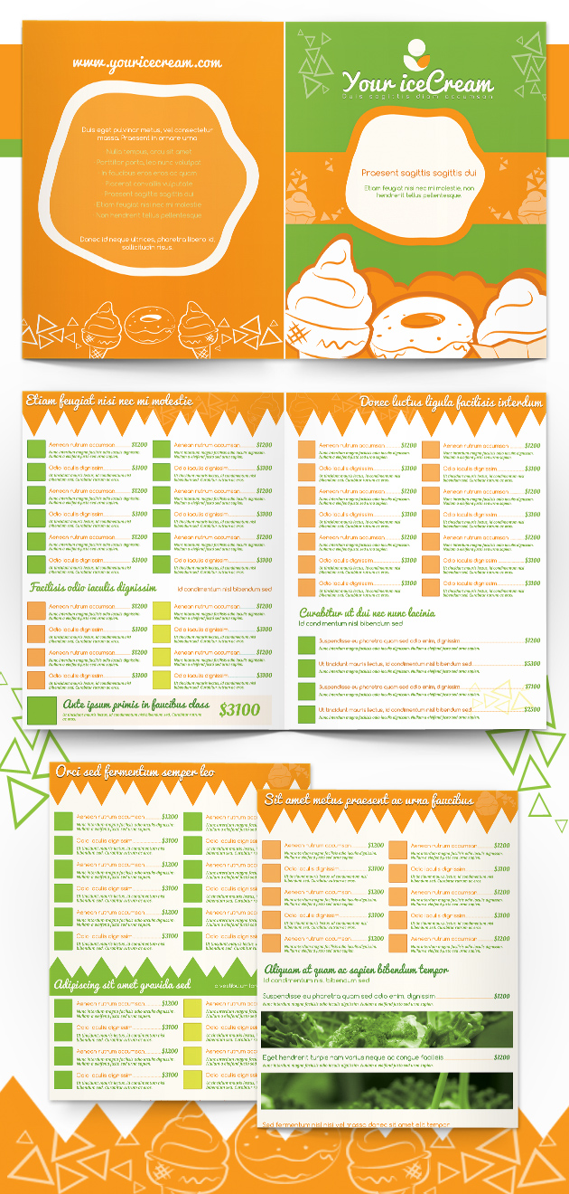 ice cream shop menu